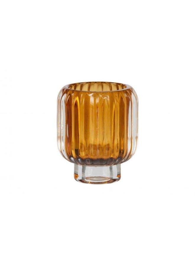 WAVE WAXINEHOUDER GLAS 8X7 CM OKER