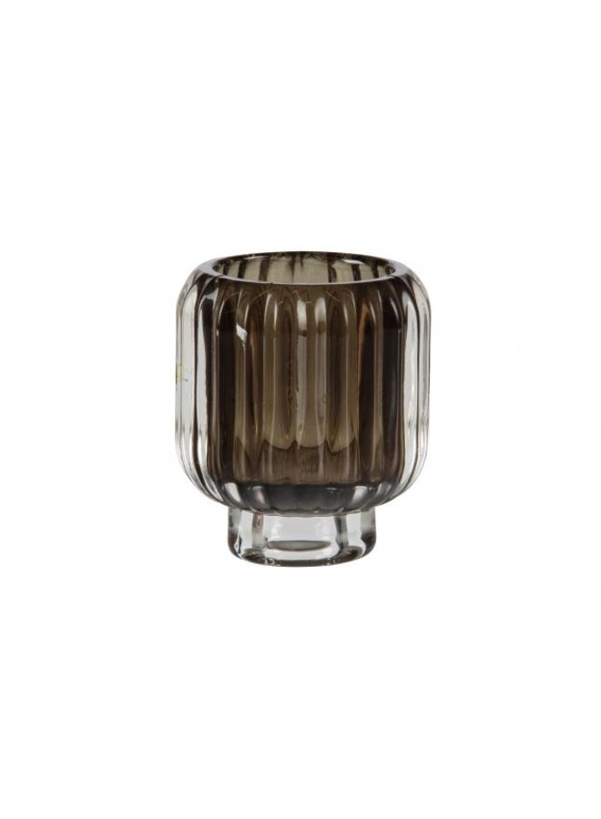 WAVE WAXINEHOUDER GLAS 8X7 CM D. BRUIN