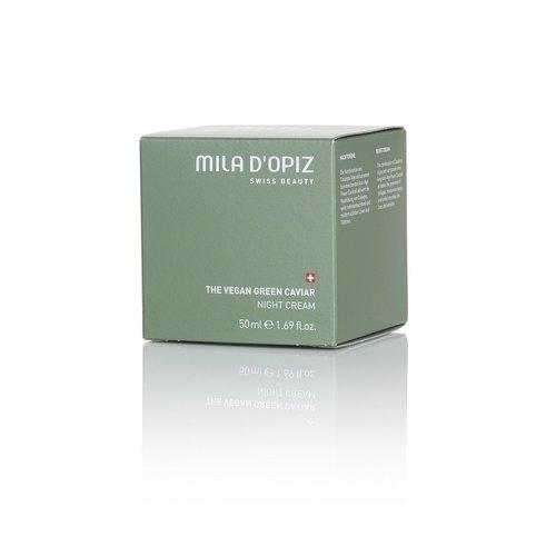 Mila d'Opiz Mila d'Opiz swiss beauty The Vegan green caviar night cream, nacht crème Staffelkorting 10%!