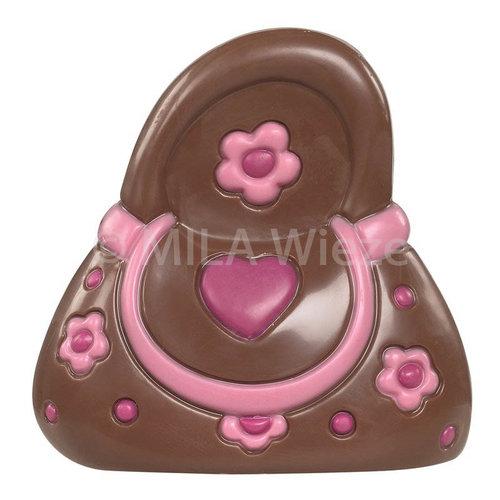 Chocolade handtas - deco roos - 12 x 90 gr - in fijne Callebaut chocolade