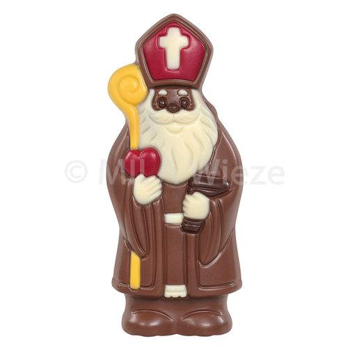 Lachende Sint - deco rood, geel & wit - 20 x 50 gr - in fijne Callebaut chocolade