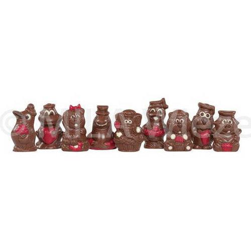 Sinterklaas piepfiguren rood  ingekleurd - 1 kg - fijne Callebaut chocolade