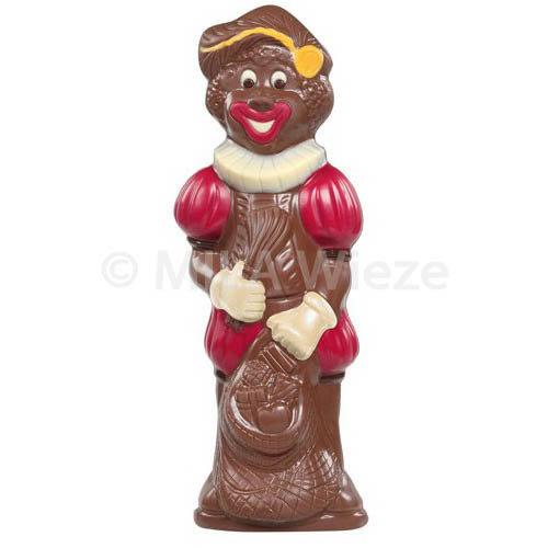 Lachende Piet, deco - 250 gr - 25 cm - verpakt in mica - fijne Callebaut chocolade