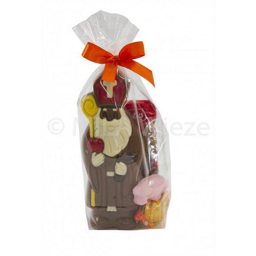 Chocolade Sint deco 150 gr met snoepgoed van Sinterklaas