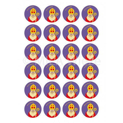 Ronde sticker met MILA Sint - 24 stuks