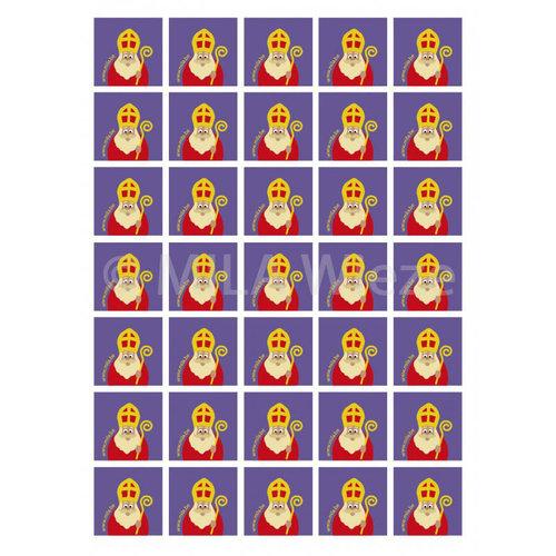 Vierkante sticker met MILA Sint  - 35 stickers