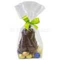 Mica zak met strik - klok 60 gr, holle eitjes, alu eitjes