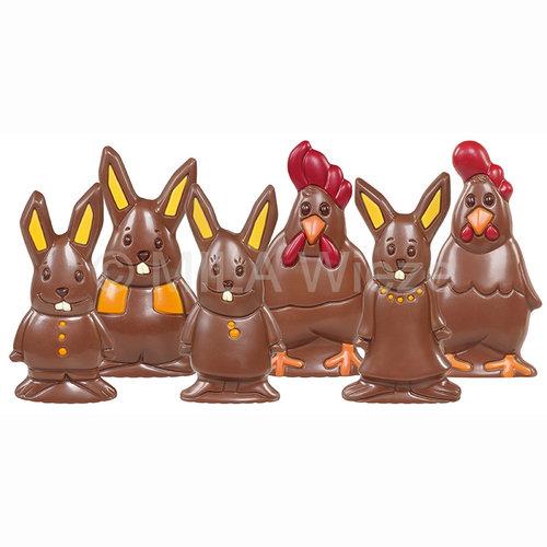 Chocolade paasfiguren modern ingekleurd - 60 gr