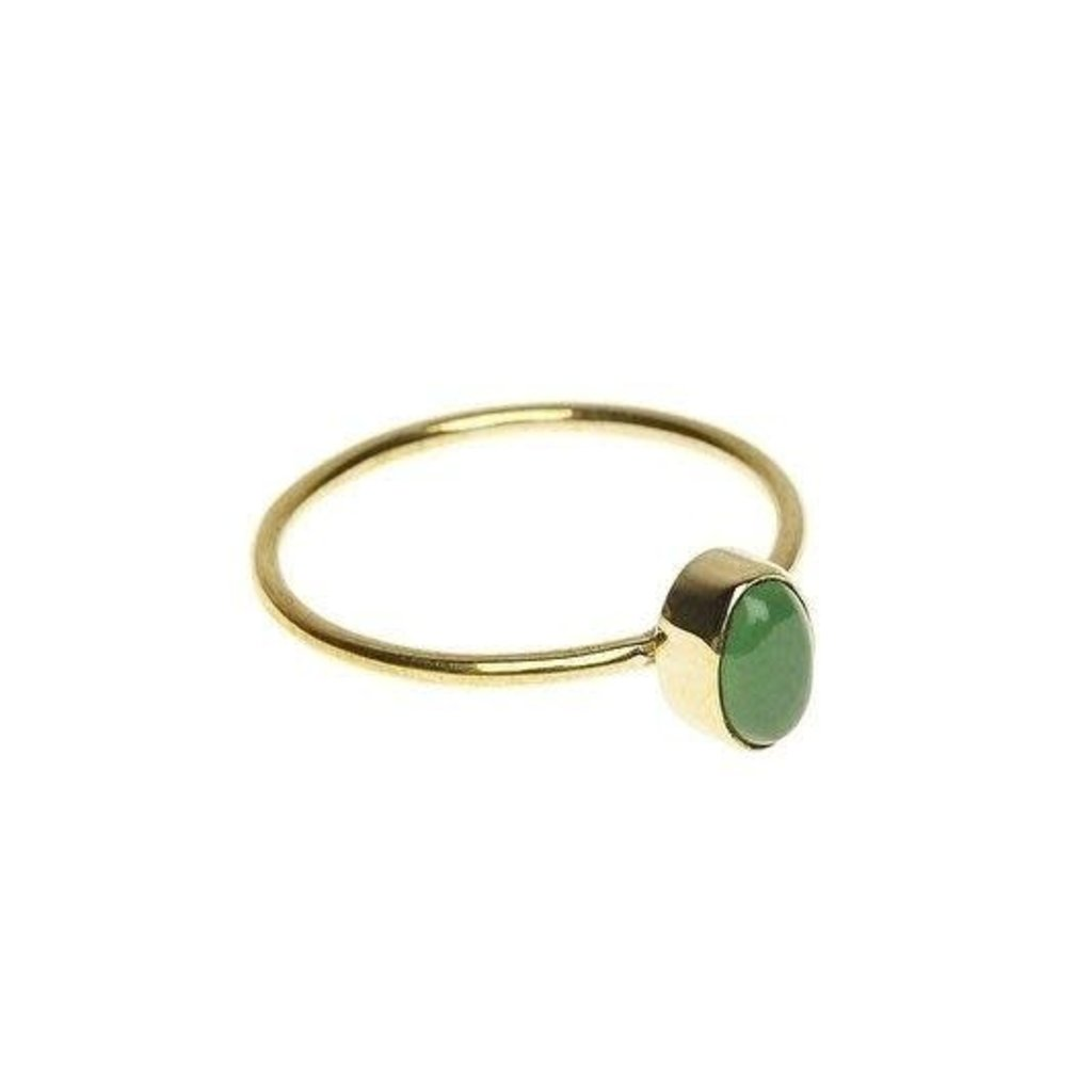 Ring  jade green oval Brass