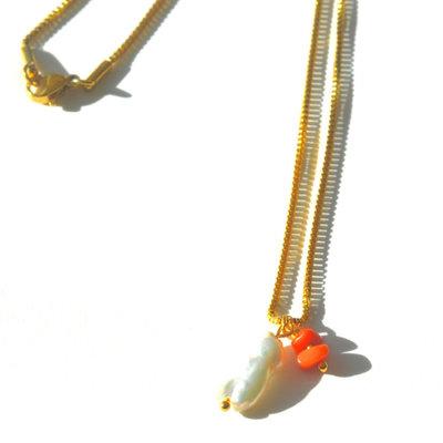 BYBJOR Ketting Keshi Pearl & Coral goud-edelstaal