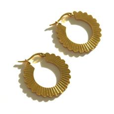 BYBJOR oorbellen Flower Hoop goud-edelstaal