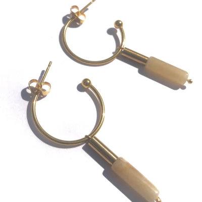 BYBJOR oorbellen Hoop & Topaz Jade goud-edelstaal