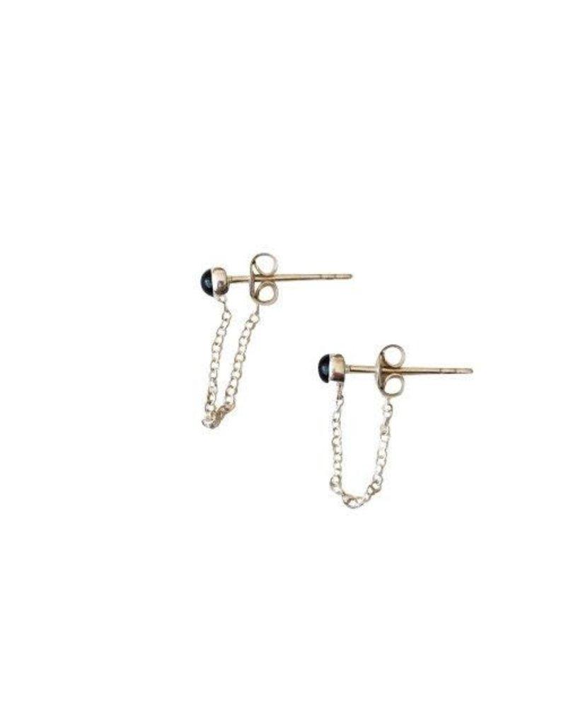 oorbel chain onyx stud zilver