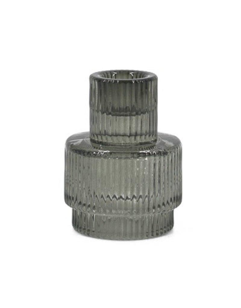 kandelaar glas geribbeld recht