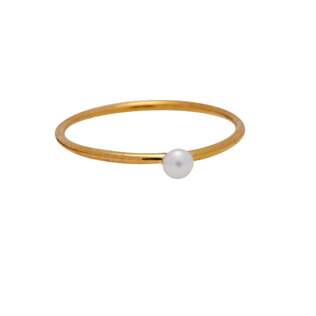 Ring tiny pearl brass