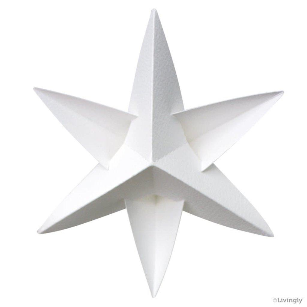 LIVINGLY Papieren kerstster wit, 4 stuks per set