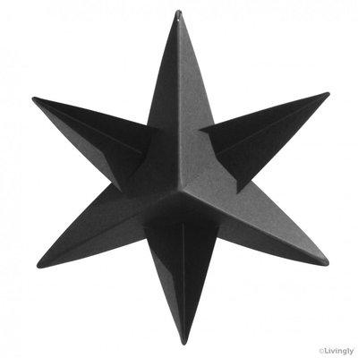 LIVINGLY Papieren kerstster zwart, 4 stuks per set