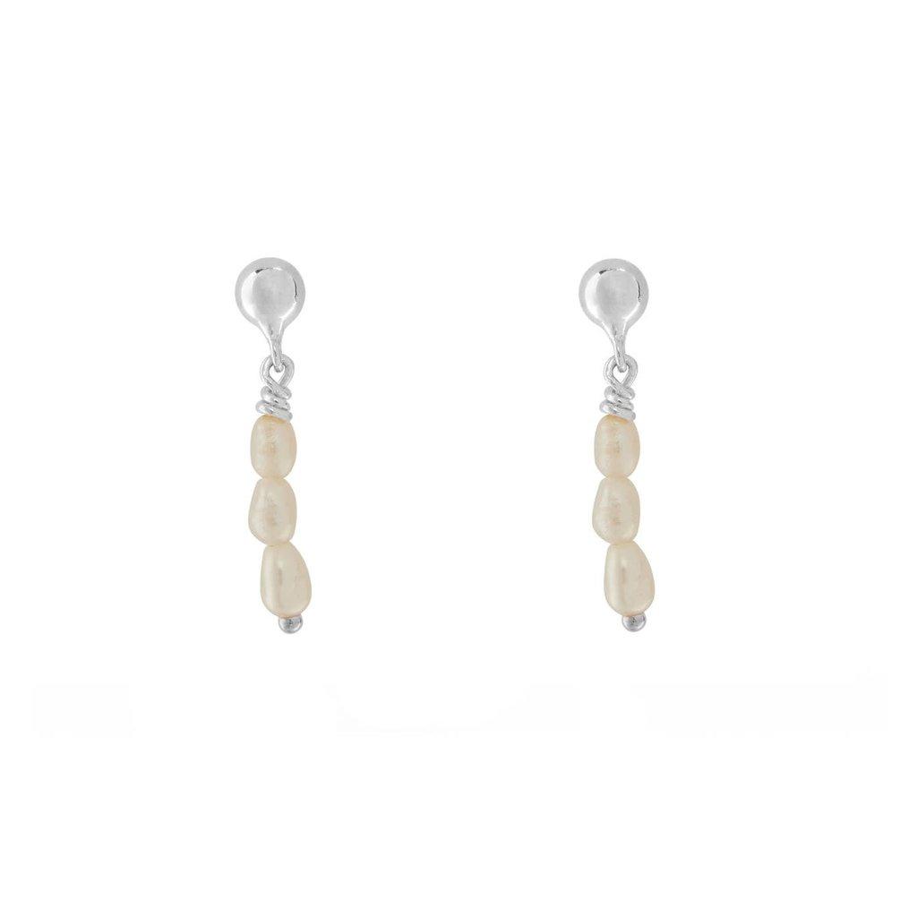 oorbellen multi pearls zilver