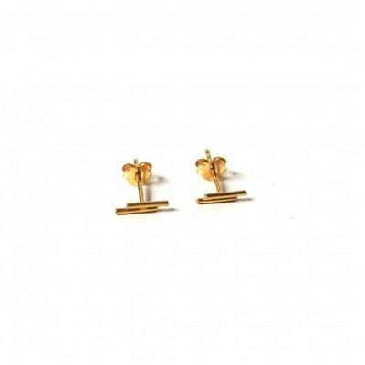 oorbellen double bar Gold-plated