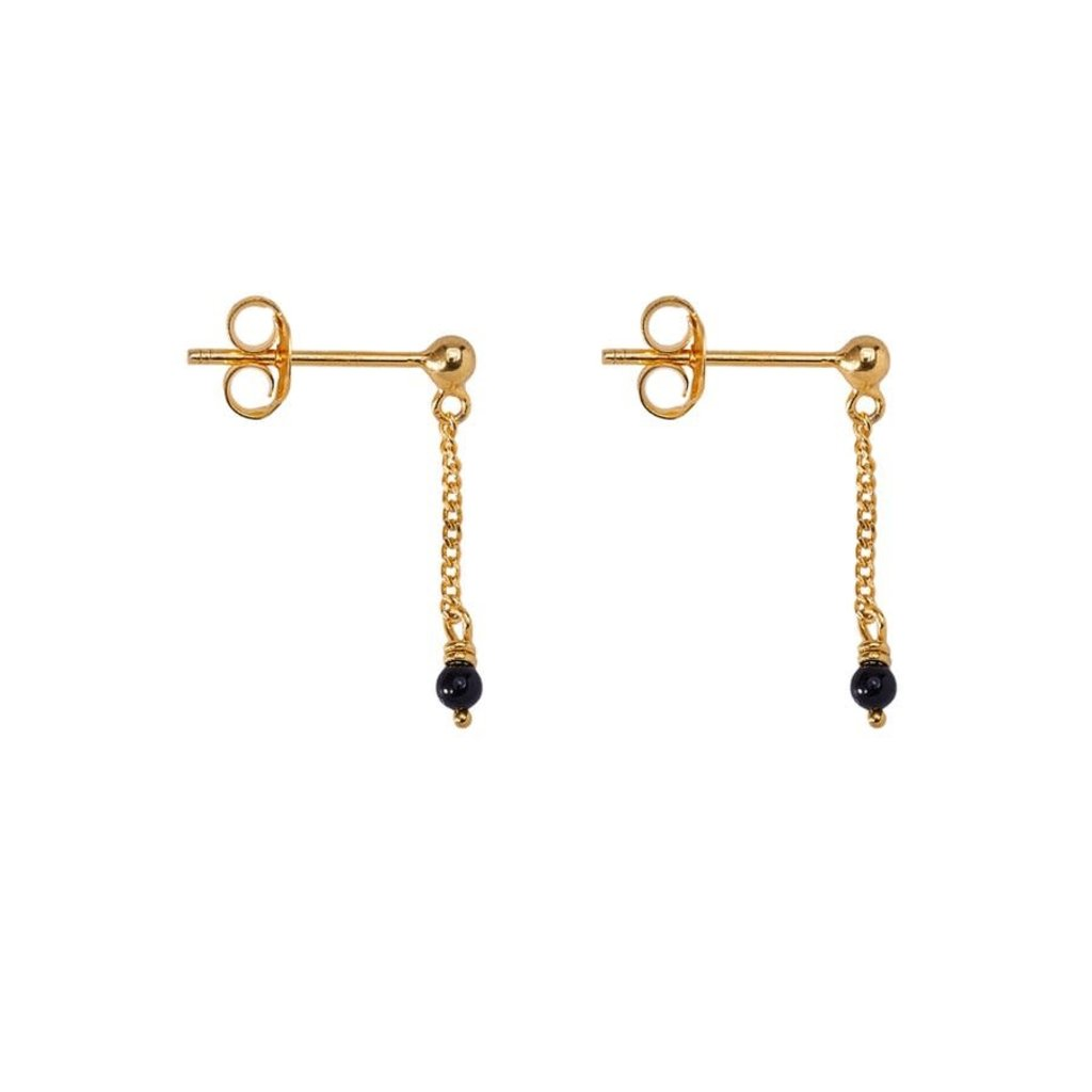 oorbel chain onyx stud gold-plated