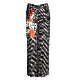 Manila Grace Pantalon Zwart met witte stippen