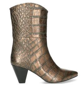 Fred de la Bretoniere Ankel boot metallic croco