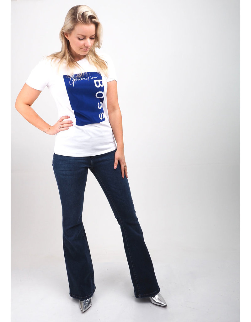 Hugo Boss Shirt Ewoman wit/blauw