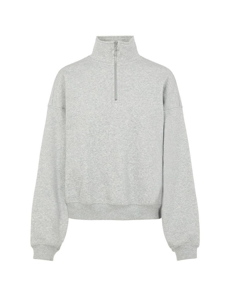 Object Kaisa L/S Zip Sweat Pullover L. Grey