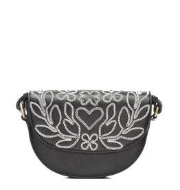Fabienne Chapot Bag Anais Embroidered Black/cr.wh