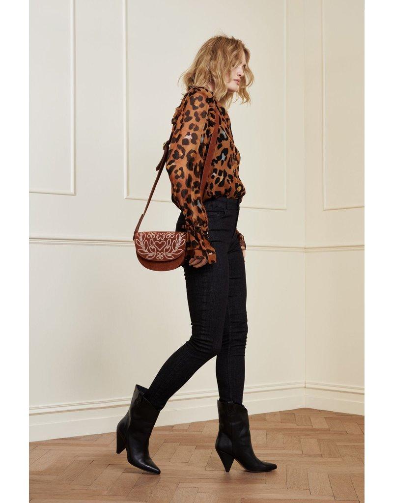 Fabienne Chapot Baf Anais Embroidered Cognac/cr.wh
