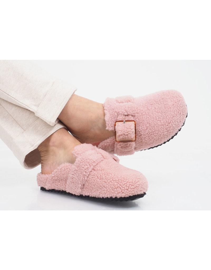 Colors of California Pantoffel Furry sabot Pink