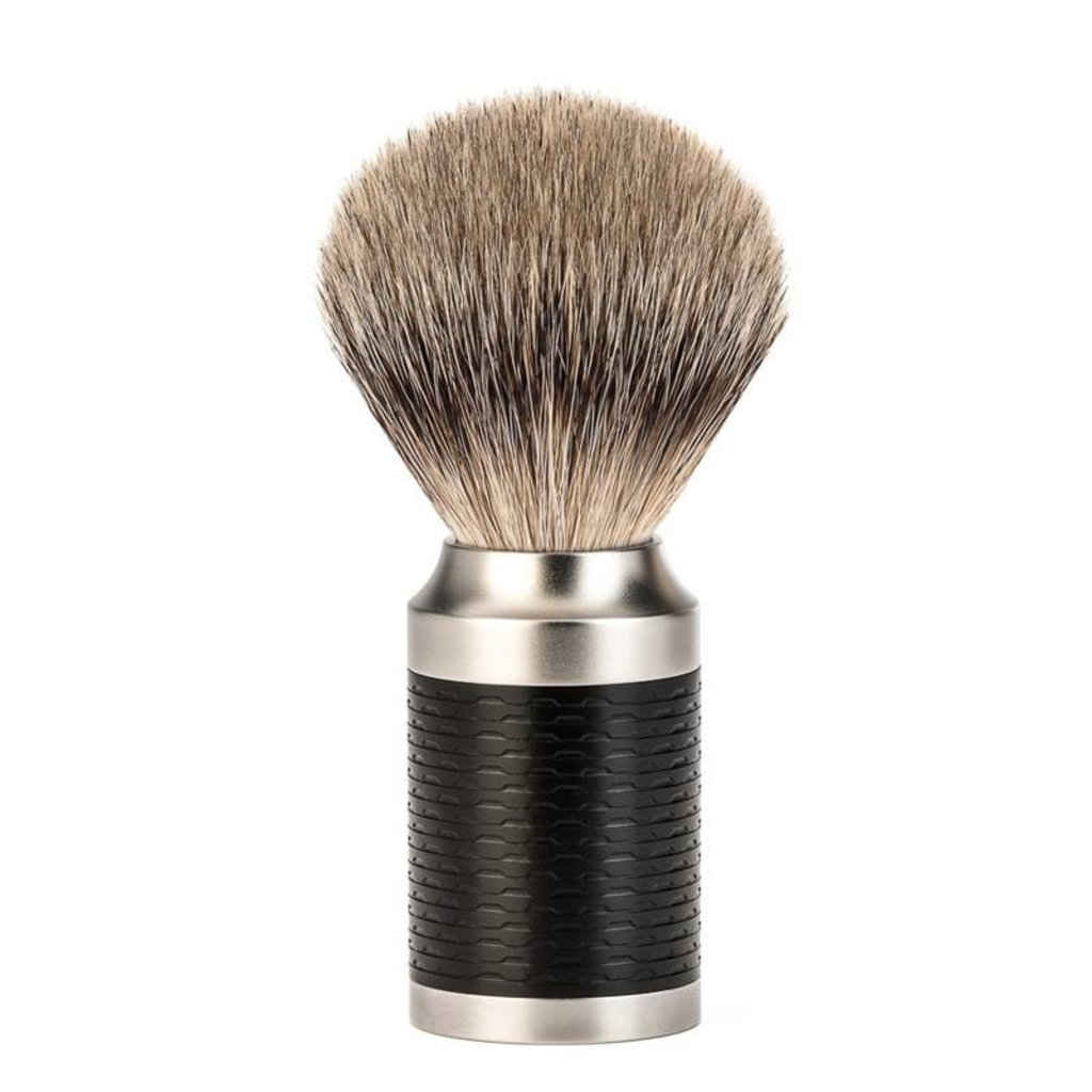 Shaving Brush Silvertip Badger - Black / RVS