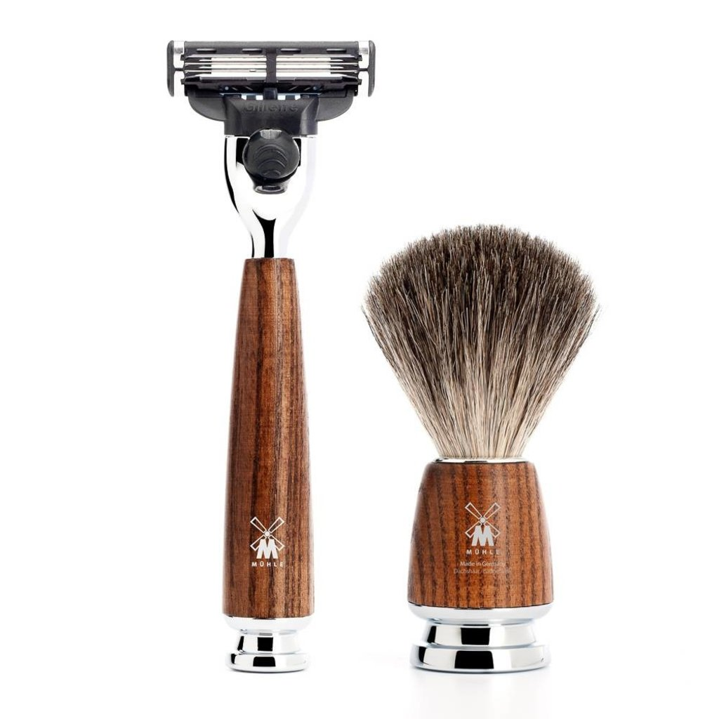 Shaving Set Rytmo 4-part - Steamed ash - Mach3®