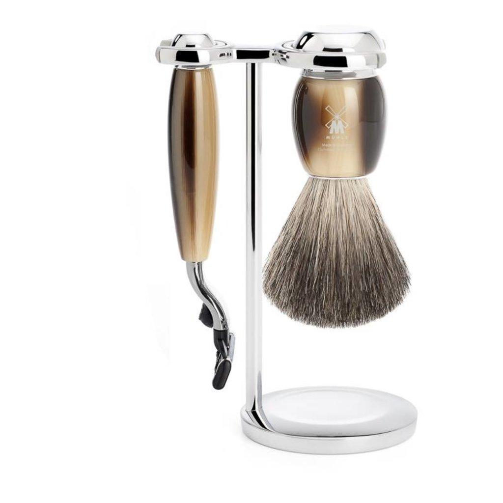 Shaving Set Vivo 3-part - High-grade resin Horn brown - Mach3®