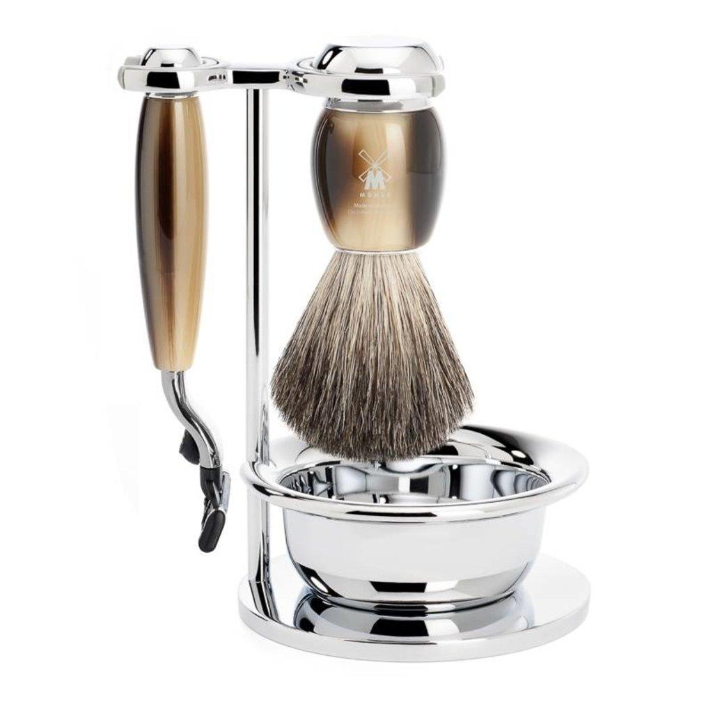 Shaving Set Vivo 4-part - High-grade resin Horn brown - Mach3®