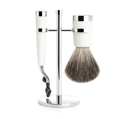 S181M147M3 - Shaving Set Liscio - White - Mach3® - Badger