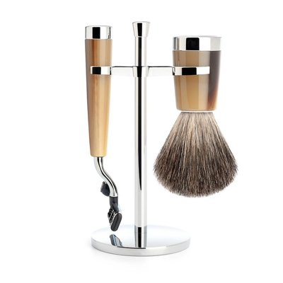 S181M142M3 - Shaving Set Liscio - High-grade resin Horn brown - Mach3® - Badger