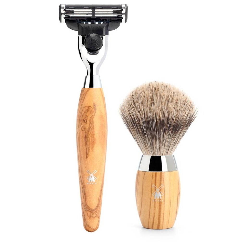 Shaving Set Kosmo 3-part - Olive wood - Mach3®