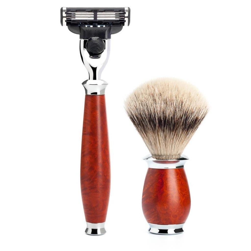 Shaving Set Purist 3-part - Briar wood - Mach3®
