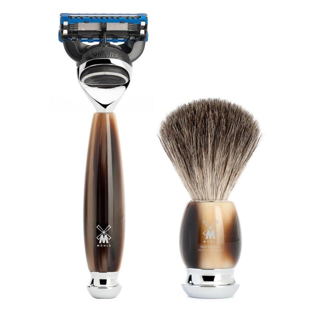 Shaving Set Vivo 4-part - High-grade resin Horn brown - Fusion®