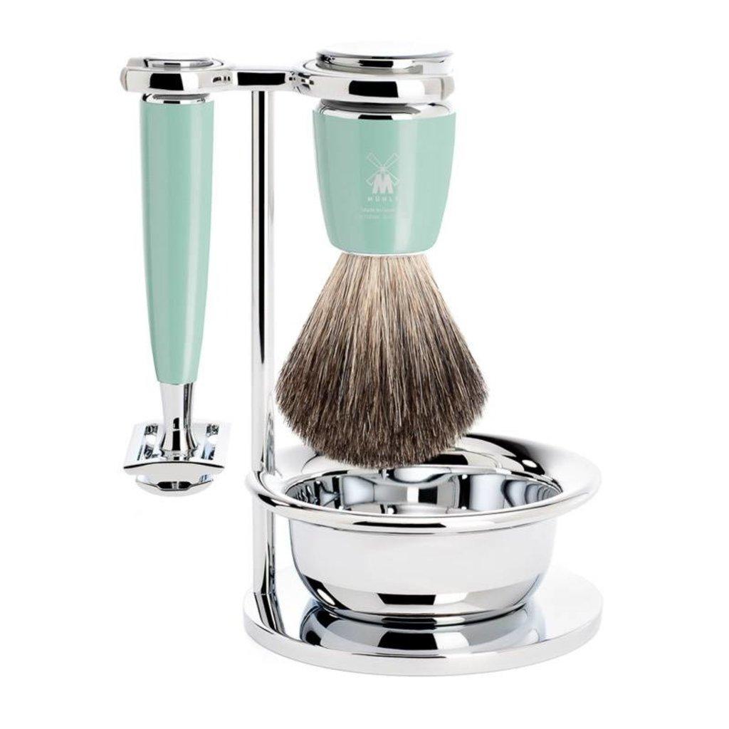 Shaving Set Rytmo 4-part - High-grade resin Mint - Saf.Razor