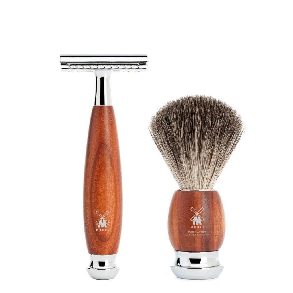 Shaving Set Vivo 3-part - Plum wood - Saf.Razor