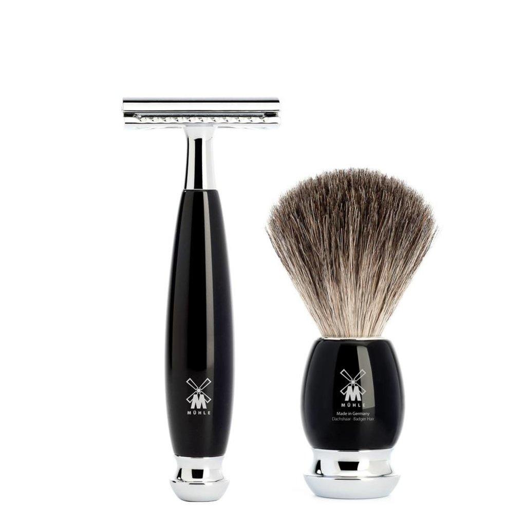 Shaving Set Vivo 4-part - Black - Saf.Razor