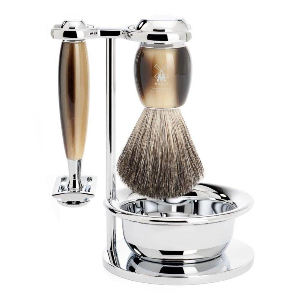 Shaving Set Vivo 4-part - High-grade resin Horn brown - Saf.Razor