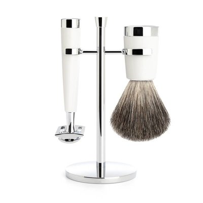 S181M147SR - Shaving Set Liscio - White - Saf.Razor - Badger