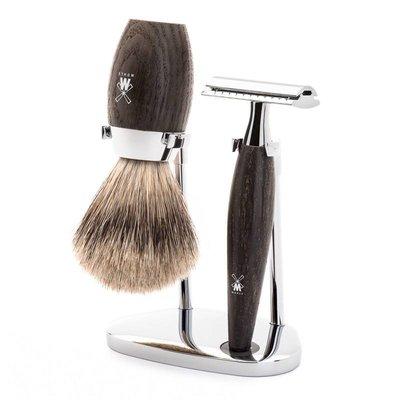 S281H873SR - Shaving Set Kosmo - Bog Oak - Saf.Razor - Badger