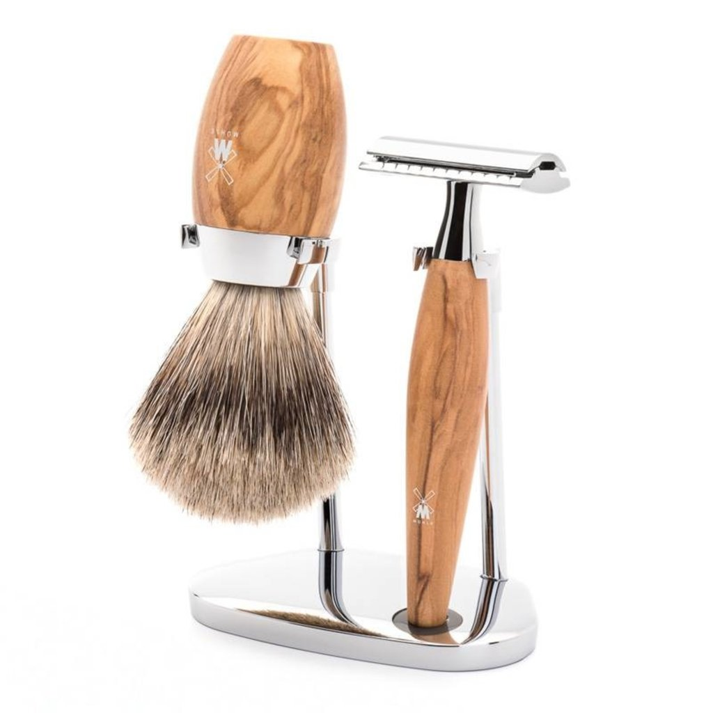 Shaving Set Kosmo 3-part - Olive wood - Saf.Razor