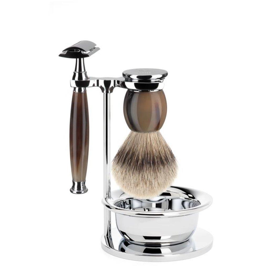 Shaving Set Sophist 4-part - Genuine horn - Saf.Razor