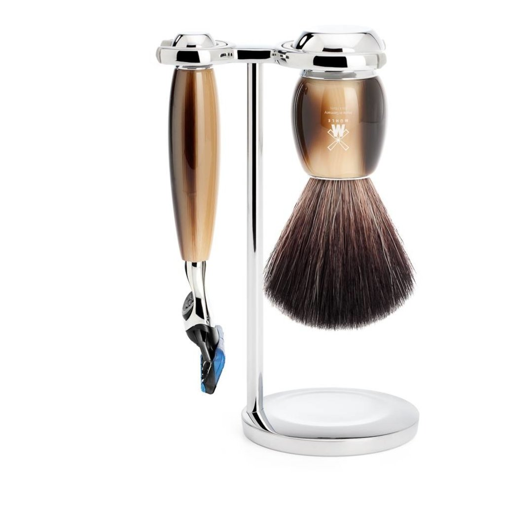 Shaving Set Vivo 3-part - High-grade resin Horn brown - Fusion®