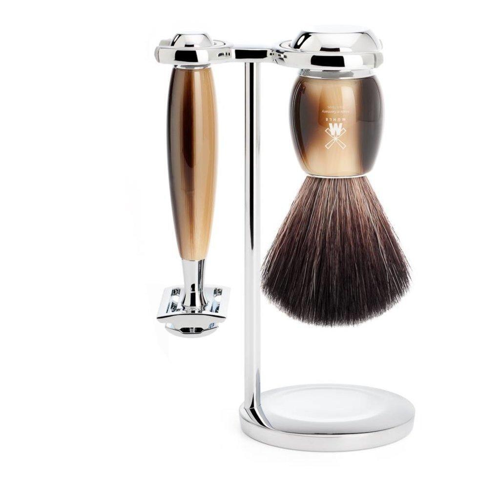 Shaving Set Vivo 3-part - High-grade resin Horn brown - Saf.Razor